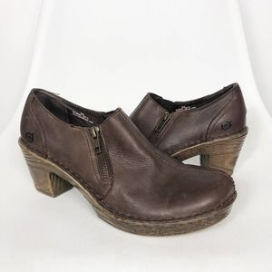 BORN | Brown Leather Heeled Clogs Booties Size 9